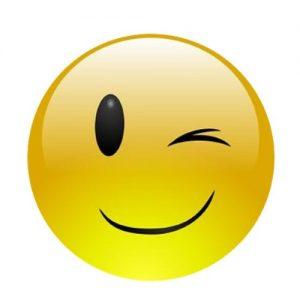 Smiling Winking Face Edible Cake Image