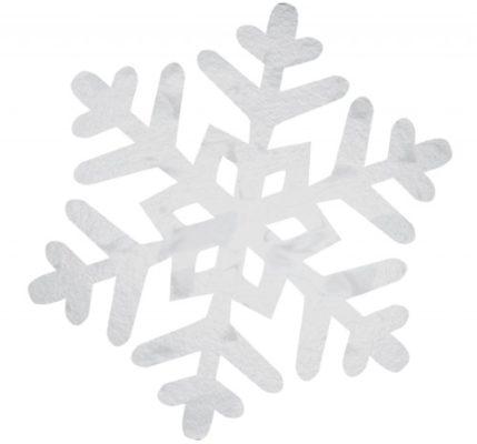 Medium Stiff Card Silver Snowflake Cutout 28cm